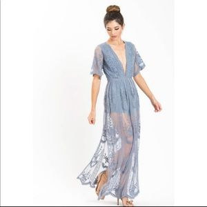 Honey Punch Mila Blue Lace Romper Maxi Dress